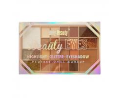 Палитра сенки Beauty eyes - брокатени сенки и хайлайтър