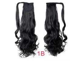 Къдрава опашка от изкуствена коса - черна
