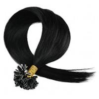 Кичури от естествена коса черни  57 см - 50 гр 50 бр