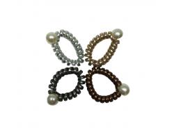 Ластик за коса - спирала с перла - 4 броя