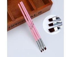 Розови четки за гел - 3 броя комплект
