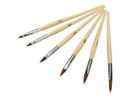 Комплект дървени четки за акрил - 6 броя