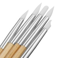 Силиконови четки за 3D декорации 5 бр комплект-дървена дръжка