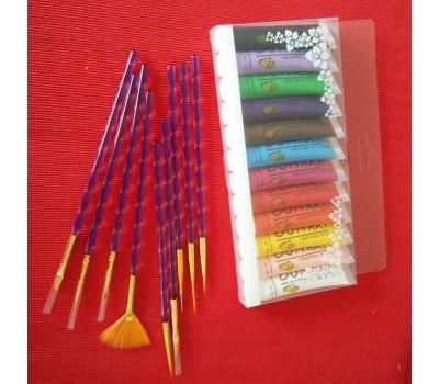 Акрилни бои и 9 броя четки за рисуване по ноктите