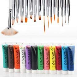 Акрилни бои и 15 броя четки за рисуване по ноктите