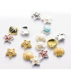 Декорация морски бижута за нокти-мидички и звезди