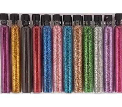 12 цвята ситен брокат - двойни шишенца