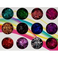 Комплект 12 бр с различен цвят холограмни конфети