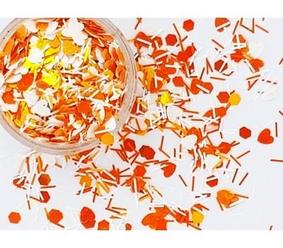 Конфети оранжеви и бели сърца