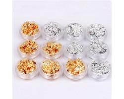 Златно  фолио за нокти  сребърно или златно 1 кутиика