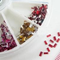 Декорация палитра Модел 33-Правоъгълни кристали 12 цвята 1 x 3 мм
