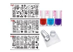 Комплект печат за маникюр ,3 цвята лак , 3 пластини за печат ,печат и стъргалка !!!
