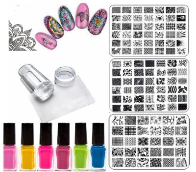 Комплект печат силикон-прозрачен  за маникюр с 6 цвята лак и 3 пластини за печат 9/14