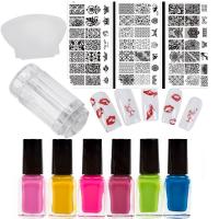 Комплект печат за маникюр ,6 цвята лак , 3 пластини DN за печат ,печат и стъргалка !!!