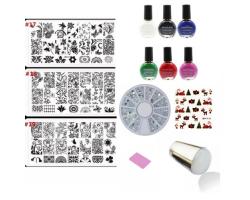 Комплект Винаги отпечатващ печат за маникюр , 6 цвята лак за печат и 3 пластини за печат