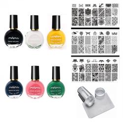 Комплект печат за маникюр с 3 пластини DN и 6 цвята лак за печат