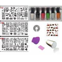 Комплект Винаги отпечатващ печат за маникюр , 6 цвята специален лак за печат и 3 пластини за печат