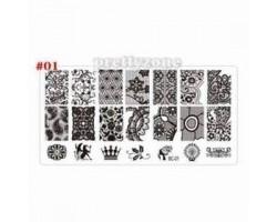 Печат - щампа  пластина за нокти 01 Тишина