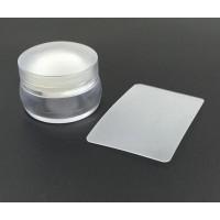 Щампа - Стъргалка  прозрачна с капаче за печат по ноктите