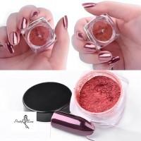 Метален - огледален пигмент за нокти розов