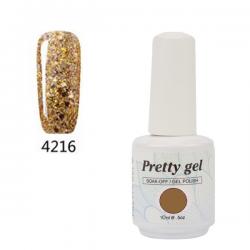 Гел лак Pretty 4216 Златен брокат