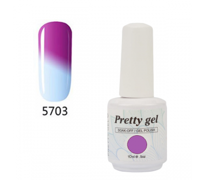 Гел лак Pretty Термо 5703 Лилаво и светло синьо
