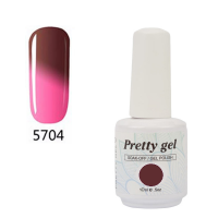 Гел лак Pretty Термо 5704 Розово към кафяво