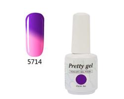 Гел лак Pretty Термо 5714 цвят ярко термо лилаво