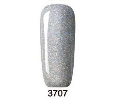 Гел лак Pretty Rainbow 3707 цвят сив брокат