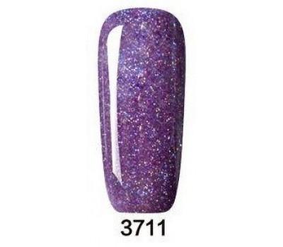 Гел лак Pretty Rainbow 3711  цвят тъмен лилав брокат