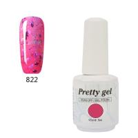 Гел лак Pretty 822 Розов с частици