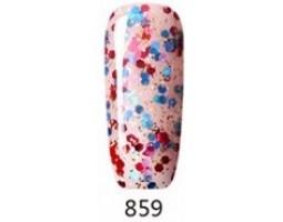 Гел лак Pretty 859  Прозрачно розов с конфети