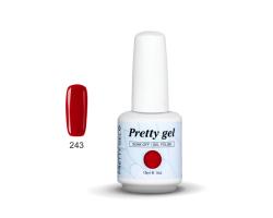 Гел лак Pretty 243 Нежно червено с лек брокатен ефект