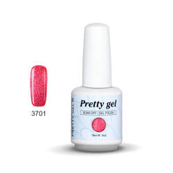 Гел лак Pretty Rainbow 3701 цвят брокатена розова наслада