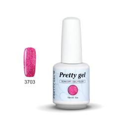 Гел лак Pretty Rainbow 3703-3701  цвят брокат розов нюанс