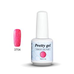 Гел лак Pretty Rainbow 3704  цвят лилаво-розов брокат