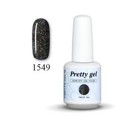 Гел лак Pretty 1549 Черен брокат -606