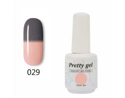 Гел лак Pretty Термо 29 цвят сиво към бледо розово