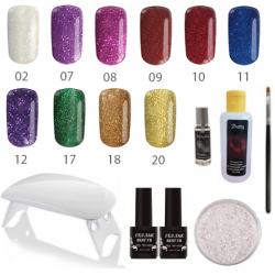 Комплект Любов - glitter - 10 цветни гела