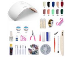 Комплект цветен гел и инструменти за ноктопластика с подарък гел лак