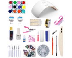Комплект ув лампа -цветен гел и инструменти за ноктопластика с подарък гел лак