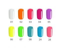 Комплект Neon - 10 бр. цветни неонови гелове 5 гр.