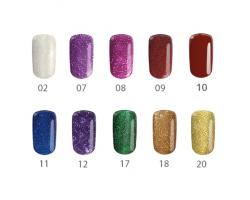 Комплект Las Vegas - 10 бр. цветни гелове едър брокат 5 гр.