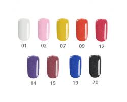 Комплект Pixel - 9 бр. цветни гелове ситен брокат 5 гр.