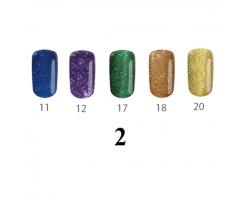 Комплект  Пиксел - 5 бр. цветни гелове брокатени цветове 5 гр.