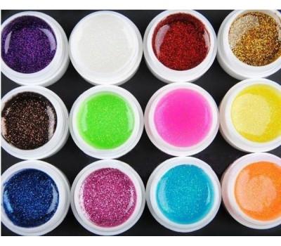 Цветни гелове Ситен брокат 12 х 8 гр